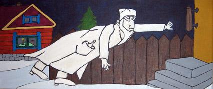 Timo Anttila: Pukki ovella kolkuttaa, 2008 (28 x 62 cm, akryyli)