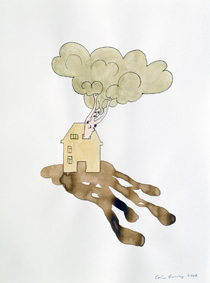 Carin Ellberg: She comes out of the house (2007), tussi ja vesiväri paperille, 62 x 52 cm