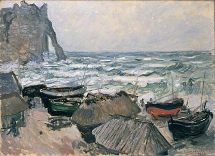 Claude Monet: Kalastajaveneitä Etretat'n rannalla, öljy kankaalle - © Wallraf-Richartz -museo, Courboud säätiö.