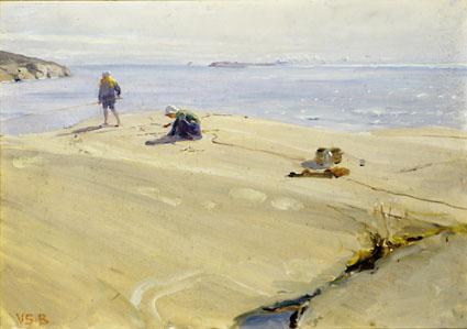 Venny Soldan-Brofeldt: Kalastajia, Fishermenöljy pahville, 33,5 x 50,5 cm