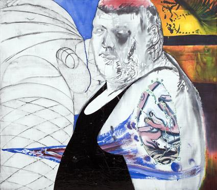 Jukka Korkeila: Melancholy of a young man, 1996, sekatekniikka, 120x132 cm