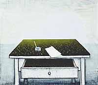 """Kimmo Kaivanto: """"Runoilijan pöytä"""", öljy, 1973. © OKO:n taidesäätiö."""
