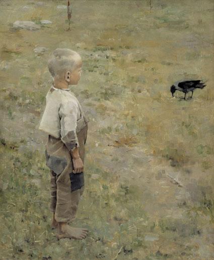 Akseli Gallen-Kallela: Poika ja varis (1884, öljy - Ateneumin taidemuseo) Valokuva Jukka Romu
